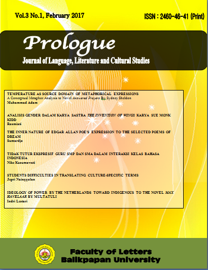 View Vol. 3 No. 1 (2017): Prologue: Journal on Language and Literature